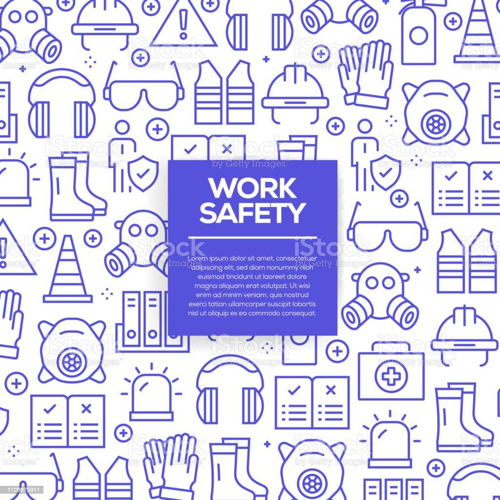 Vektor-Reihe von Design-Vorlagen und Elemente für Arbeitssicherheit in trendigen linearen Stil - Musterdesigns mit linearen Symbole rund um Arbeitssicherheit - Vektor – Vektorgrafik