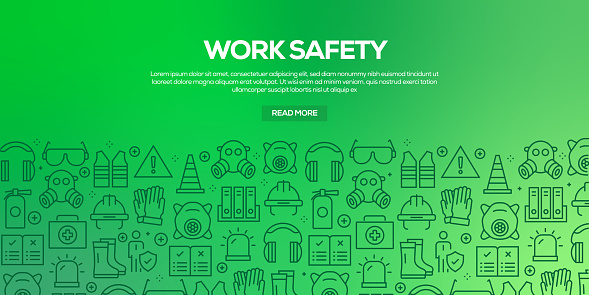 Vector set of design templates and elements for Work Safety in trendy linear style - Seamless patterns with linear icons related to Work Safety - Vector