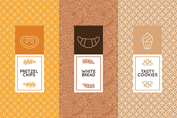 Vector set of design templates and elements Vector set of design templates and elements for bakery packaging in trendy linear style bread backgrounds stock illustrations