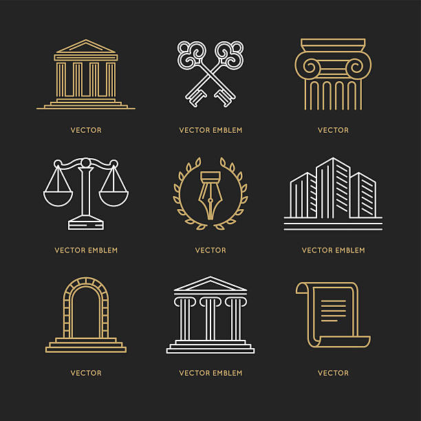 vector set of design templates - lawyer stock illustrations, clip art, cartoons, & icons