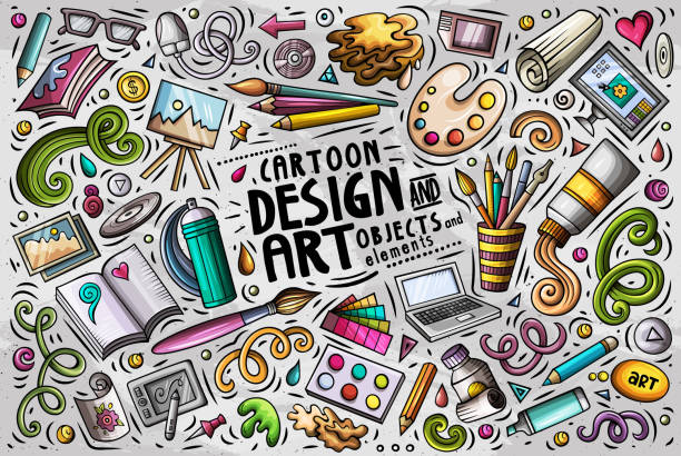 vector set of design theme items - art and craft stock illustrations