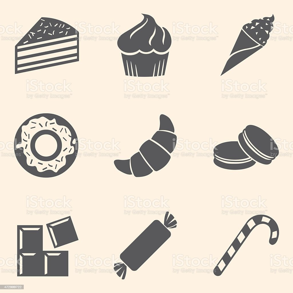 Vector Set of Dessert Icons. Sweet-Stuff. Confection. Cake, Brownie,...