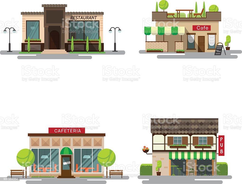 Ein satz von detaillierten Vektor-flachen design Stadt öffentlichen Gebäuden - Lizenzfrei Alkoholisches Getränk Vektorgrafik
