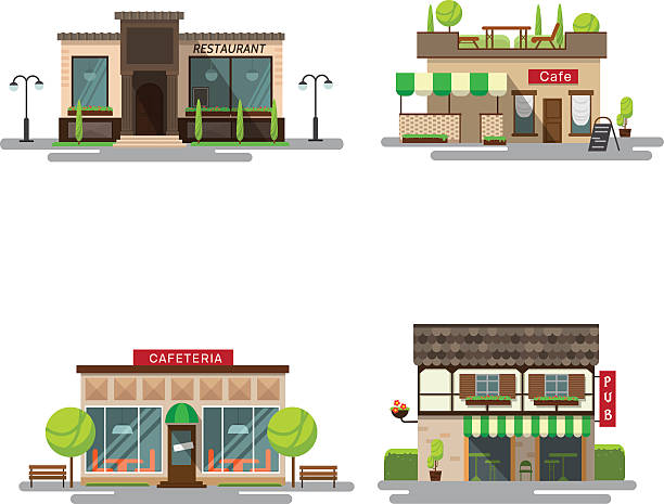 wektor zestaw szczegółowe płaska konstrukcja budynków miasta publicznych - bar lokal gastronomiczny stock illustrations