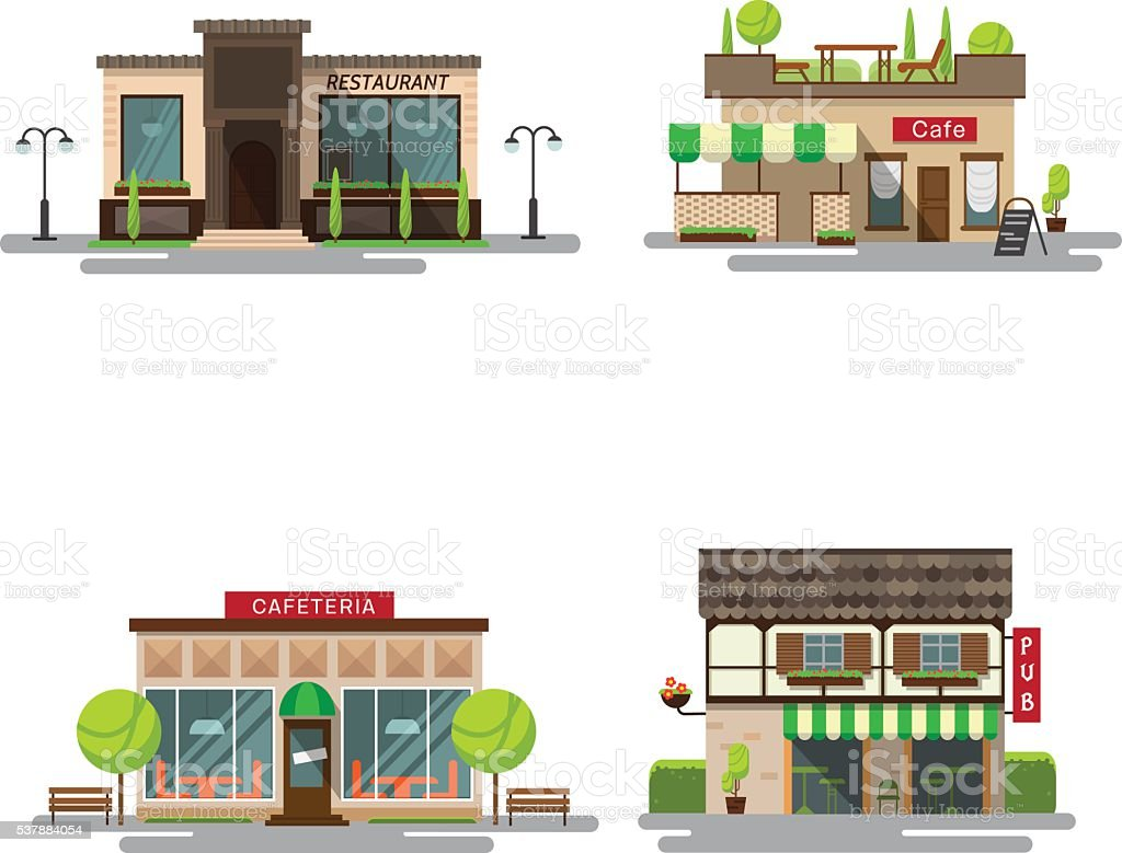 Vector set of detailed flat design city public buildings vector art illustration