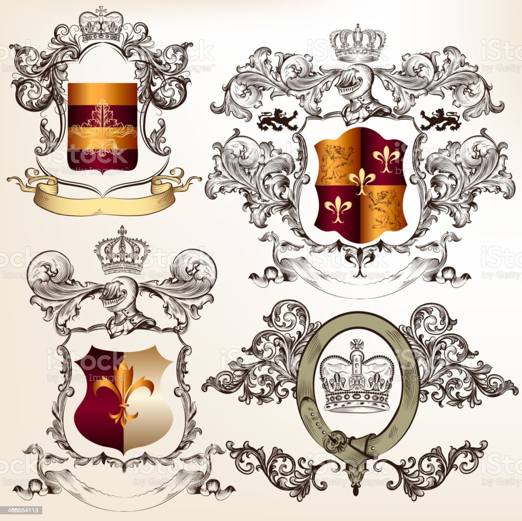 Vector set of detailed heraldic design with coat of arms vector art illustration