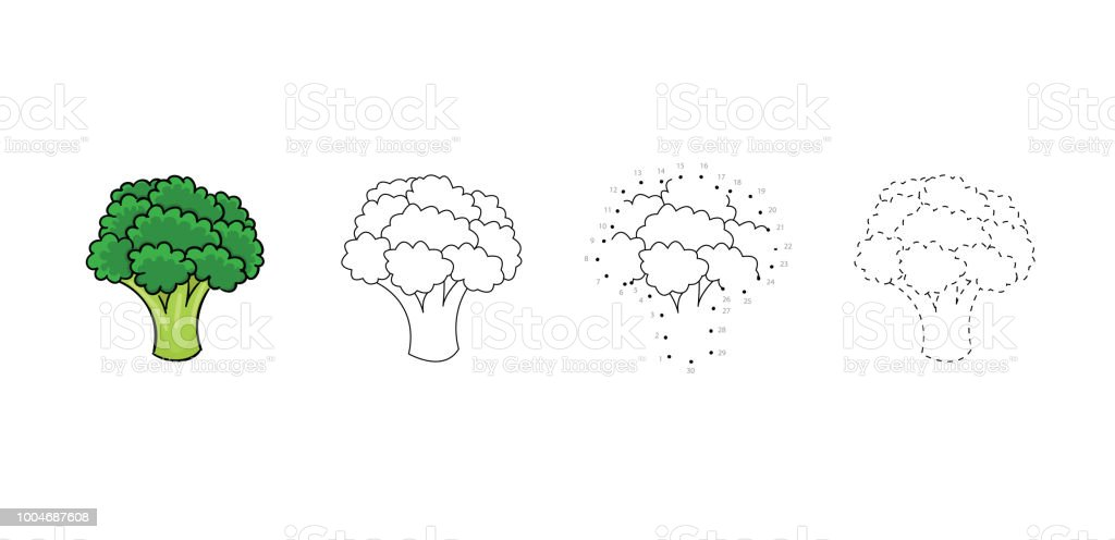 Vector Set Of Dietary Broccoli Kids Drawing Child Vegetables Educational Game Page Royalty