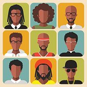 Vector set of different african american man app icons in trendy flat style.
