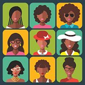 Vector set of different african american woman app icons in trendy flat style.