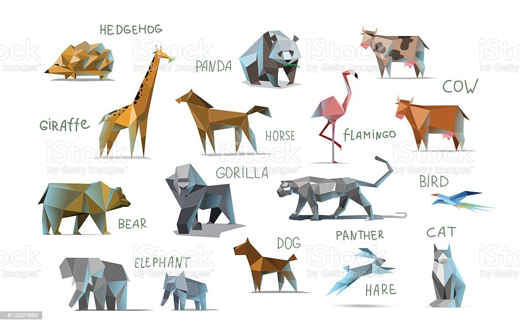 Vector set of different animals, polygonal icons, low poly illustration - illustrazione arte vettoriale