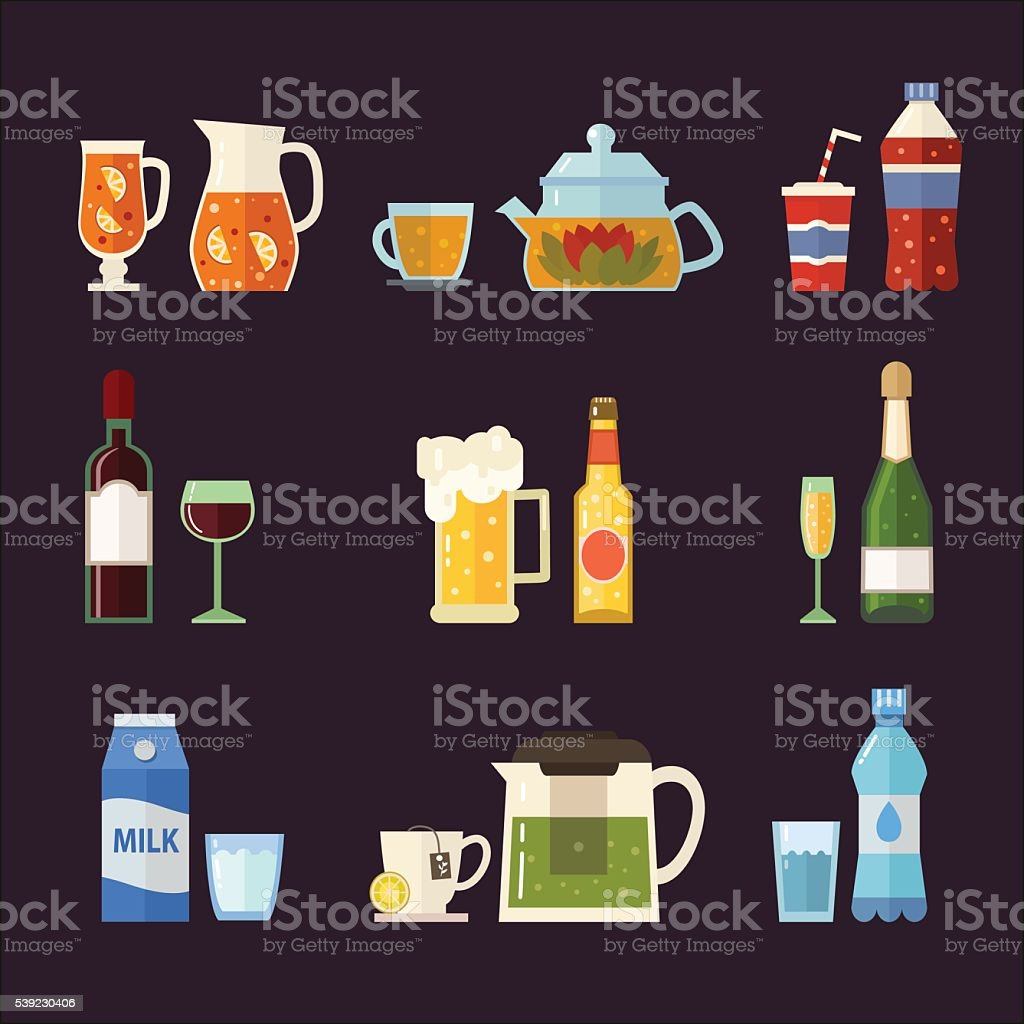 Vector set of different beverages royalty-free vector set of different beverages stock vector art & more images of alcohol