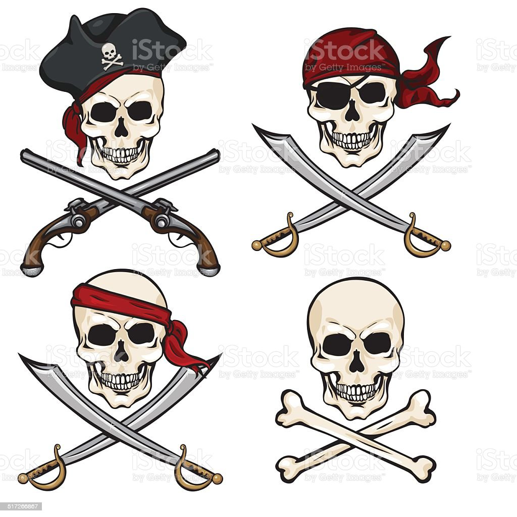 Vector Set of Different Cartoon Pirate Skulls vector art illustration