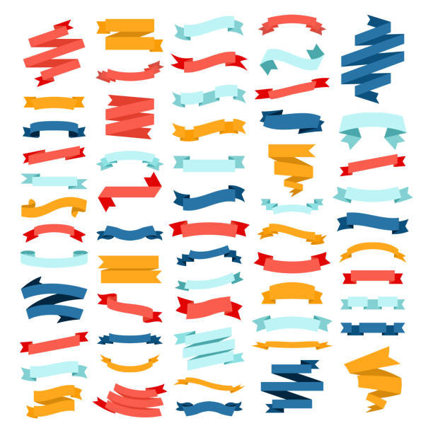 Vector set of different color flat ribbons on a white background vector art illustration