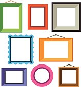 Vector set of different colorful photo frames in flat style: green, red, blue, orange, pink.Vector flat illustrations