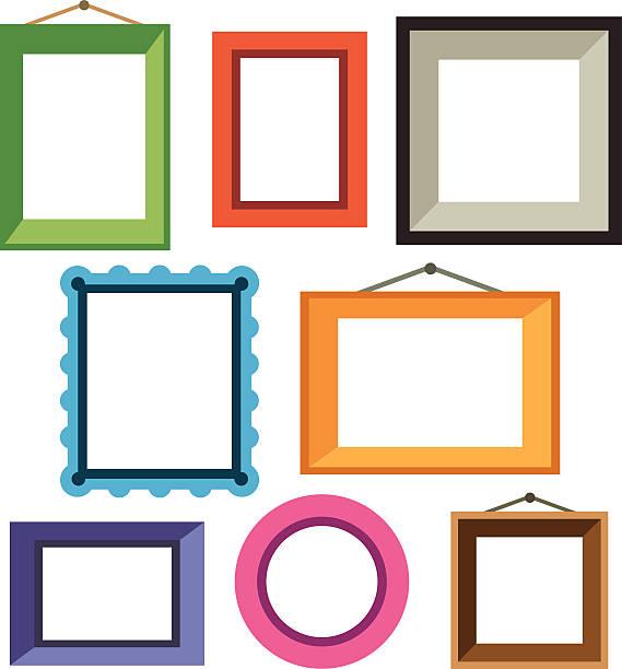ilustraciones, imágenes clip art, dibujos animados e iconos de stock de vector conjunto de diferentes colorido y marcos de fotos - bordes de marcos de fotografías