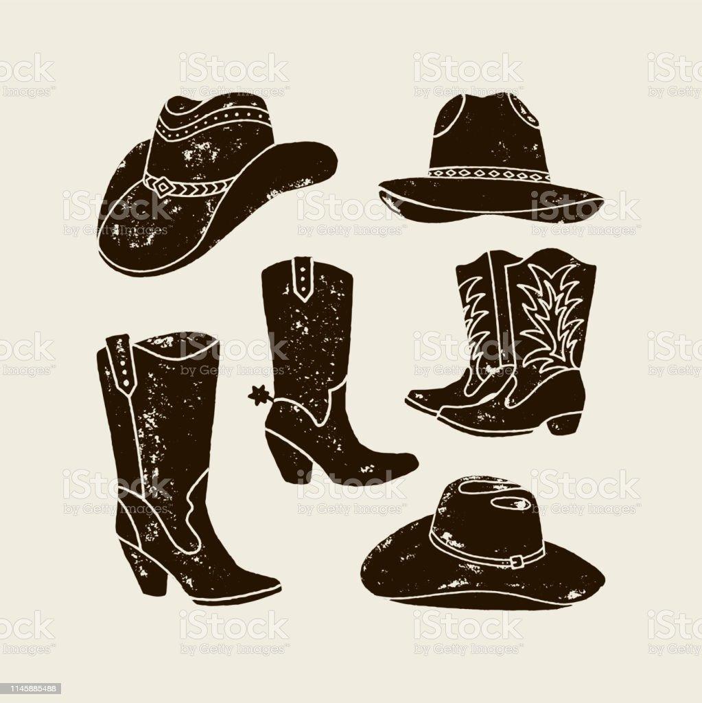 Vectorset Von Verschiedenen Cowboyhüten Und Stiefeln