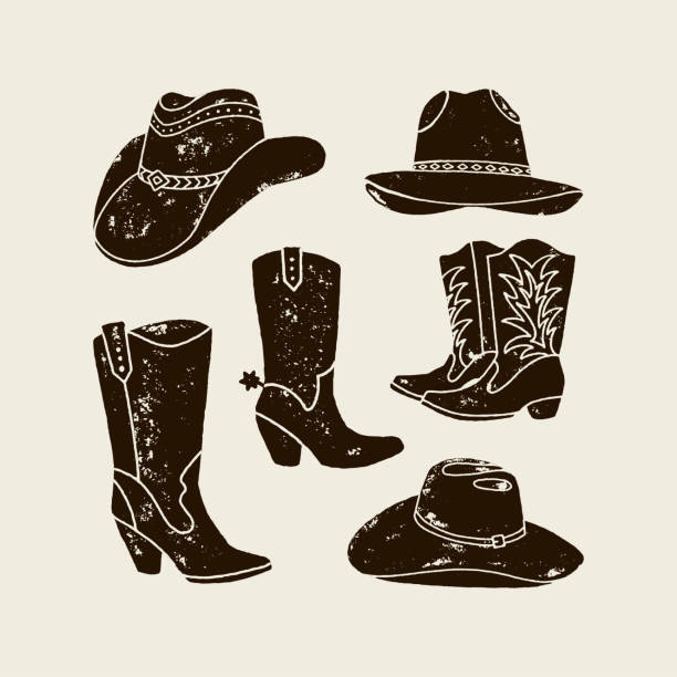 Vector Set of Different Cowboy Hats and Boots silhouette Vector Set illustration of cowboy hat and boots silhouette in vintage style , grunge effect in separate layers. Elements of the wild West for the design of posters, postcards, lettering, prints for t-shirts. Western USA label about wild west. rancher illustrations stock illustrations
