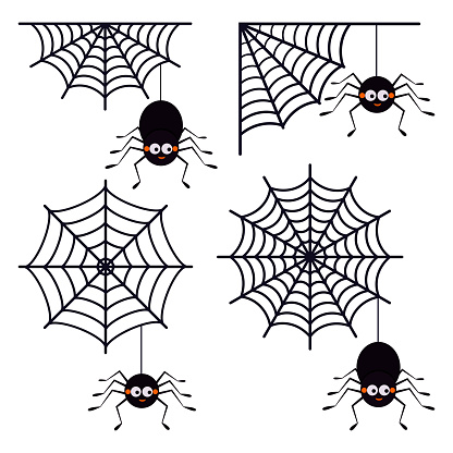 Vector set of different cute smiling black spiders hanging on a string of cobwebs with spederwebs icon isolated on white background.