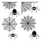 Set of different cute smiling black spiders hanging on a string of cobwebs with spederwebs icon isolated on white background. Flat style vector illustration. Animal character for Halloween design.