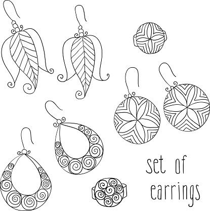 vector set of different female earrings