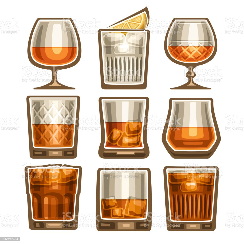 Vector set of different glassware vector art illustration