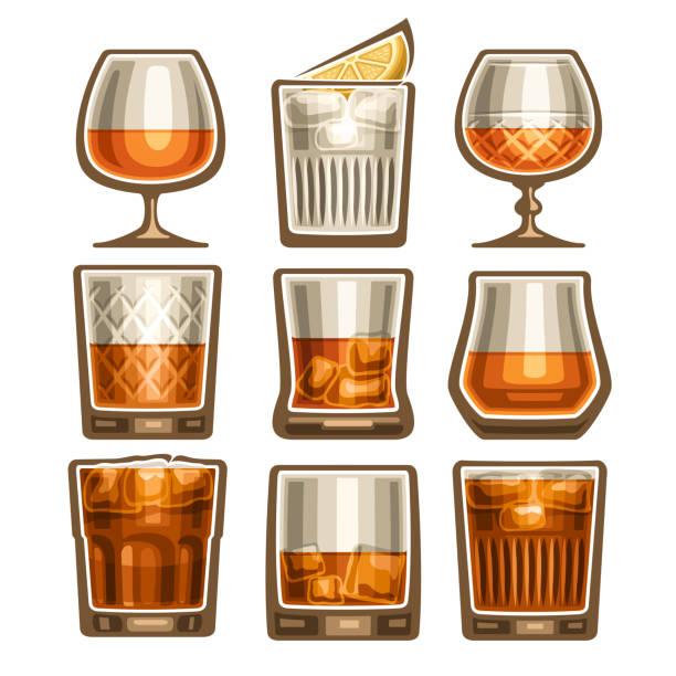Vector set of different glassware vector art illustration