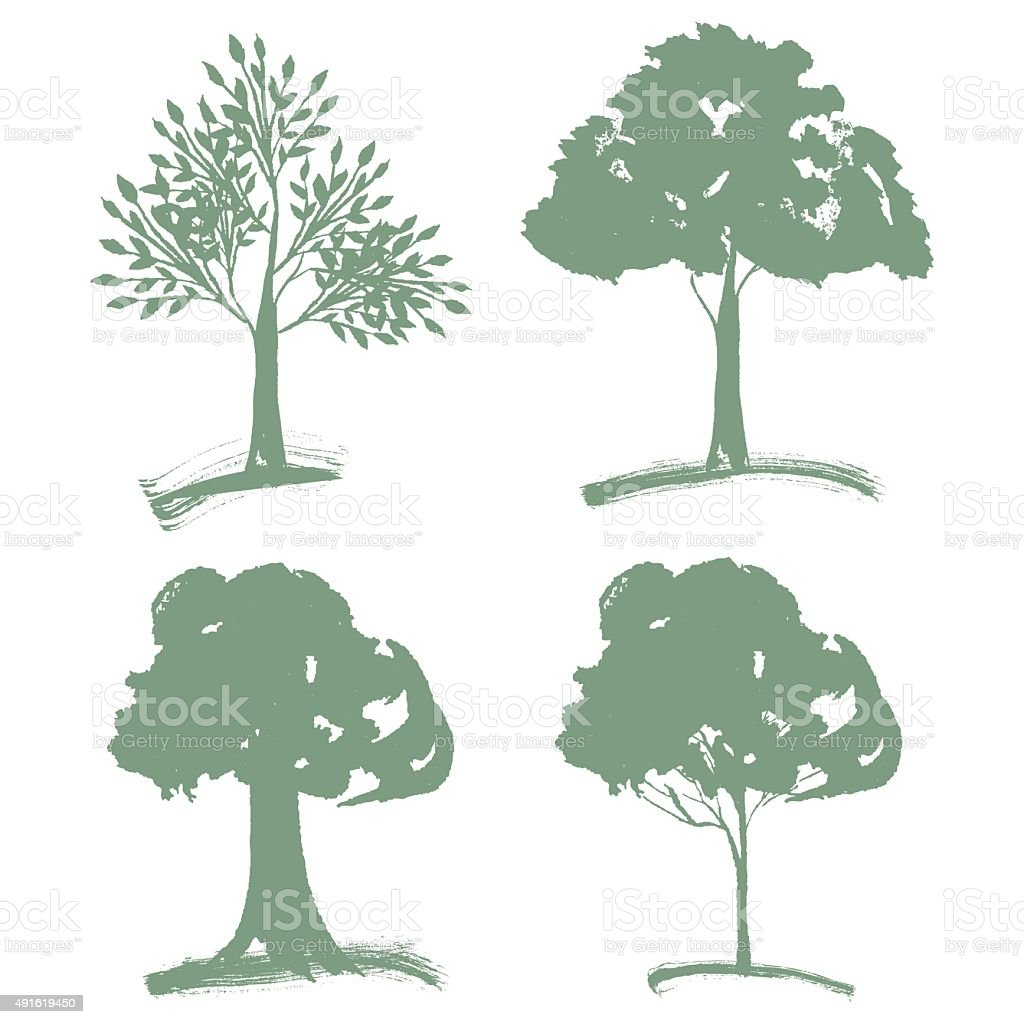 Vector set of different Green Silhouettes Trees of Landscapegn. vector art illustration