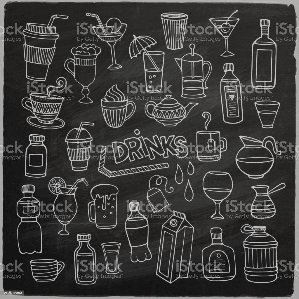 Vector set of different hand drawn beverages vector art illustration