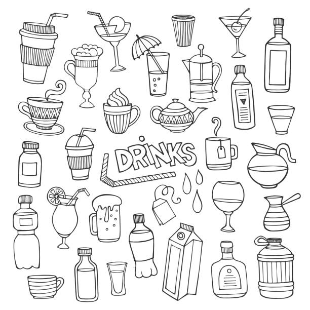 vector set of different hand drawn beverages - alcohol drink drawings stock illustrations