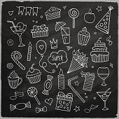 Vector set of different hand drawn holiday elements. Vector chalkboard illustration