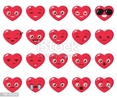 Vector set of heart emoji. Collection of different heart icons