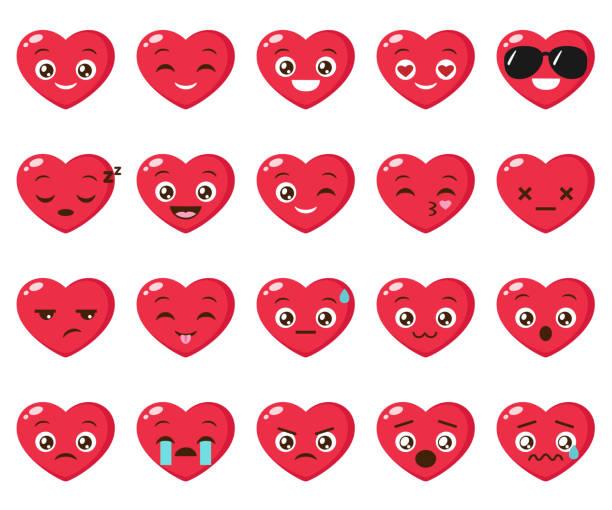 vektor-set von verschiedenen herz emoji - tierkopf stock-grafiken, -clipart, -cartoons und -symbole