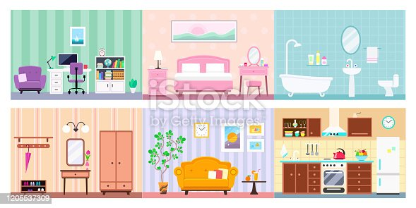 House in cut: hallway, kitchen, bathroom, living room, workplace, bedroom interiors with furniture. Vector flat illustration