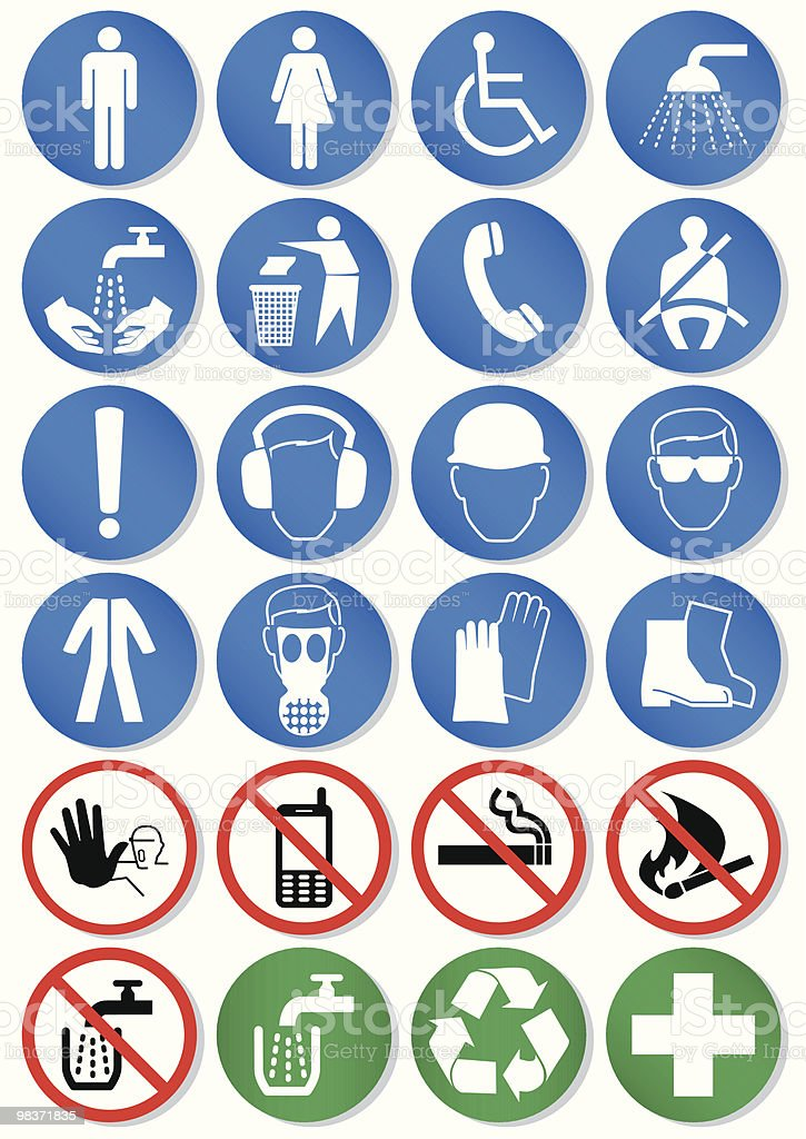 Vector set of different international communication signs vector art illustration