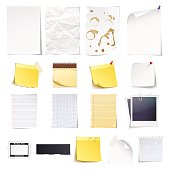 Design elements Notebook, simple white paper, grungy torn paper, lined and squared notepad pages, polaroid photo frame, news paper cut and sticky notes isolated on white background.