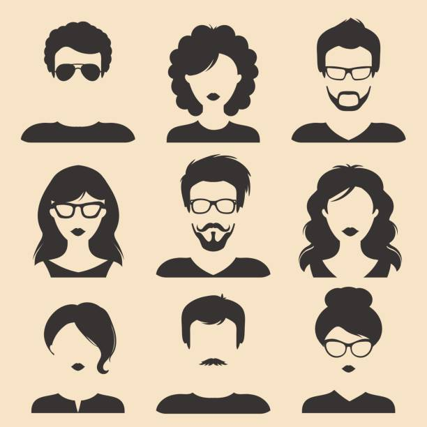 vector set of different male and female icons in trendy flat style. people heads and faces images collection. - female faces stock illustrations, clip art, cartoons, & icons