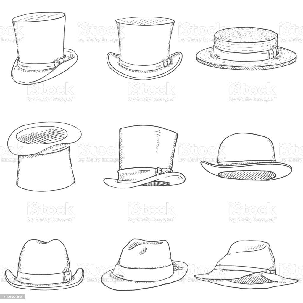 Vector Set of Different Men Hats vector art illustration