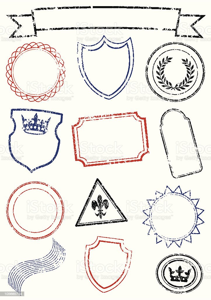 Vector set of different mock up stamps royalty-free vector set of different mock up stamps stock vector art & more images of coat of arms