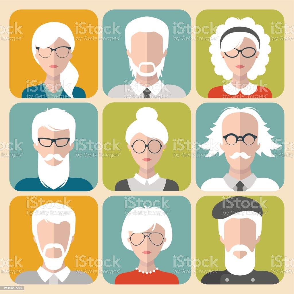 Conjunto de vectores de diferente hombre y mujer con los iconos de app de canas en estilo plano. - ilustración de arte vectorial