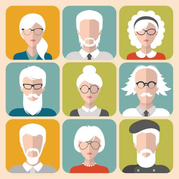 vector set of different old man and woman with gray hair app icons in flat style. - old man computer silhouette stock illustrations, clip art, cartoons, & icons