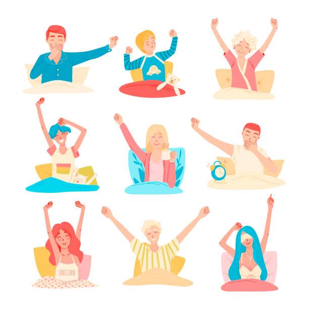illustrazioni stock, clip art, cartoni animati e icone di tendenza di vector set of different people wake up in the morning in their bed, happy faces. - buongiorno