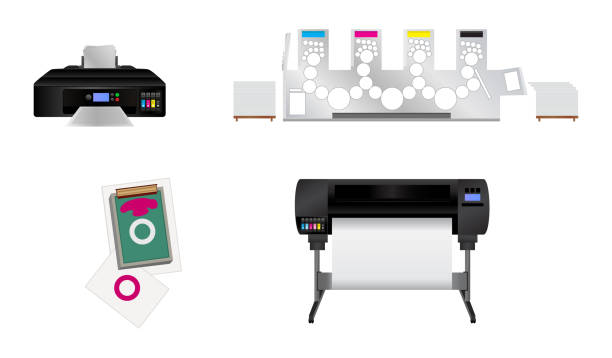 Vector set of different printing machine – silk screen printing, inkjet plotter, offset and digital inkjet printer Vector set of different printing machines isolated on a white background – silk screen printing, large inkjet plotter, offset and home digital inkjet printer. Icons for printing house, printing plant or graphic studio. silk screen stock illustrations