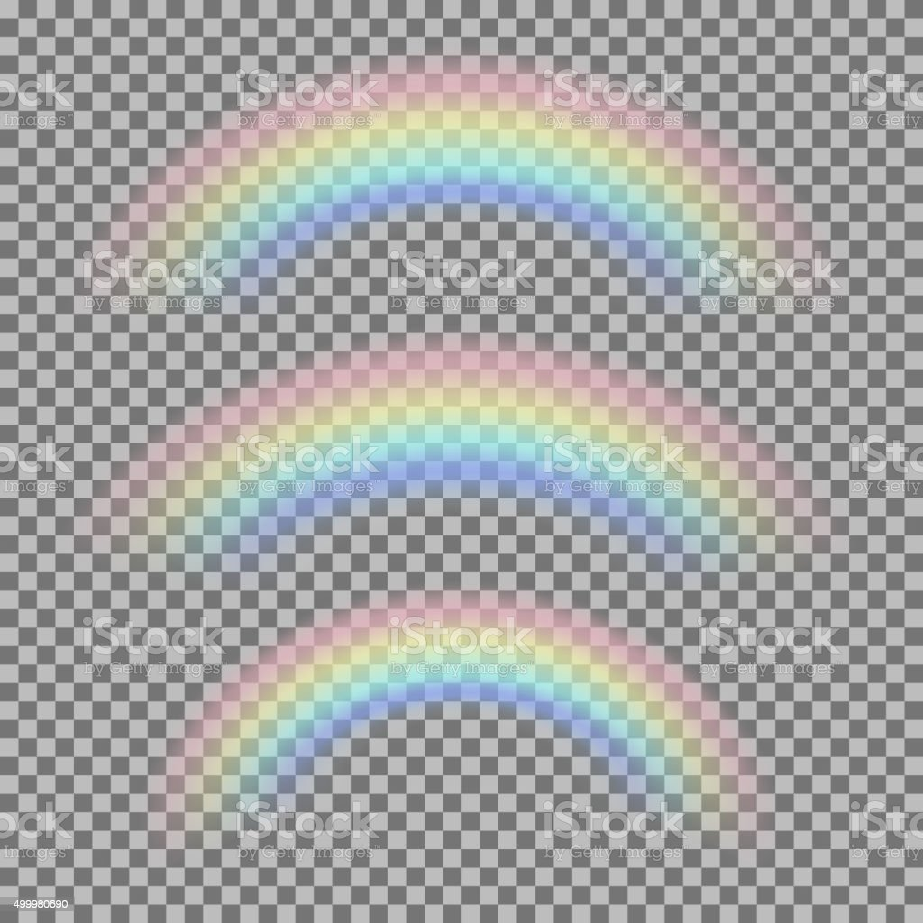 Vector set of different realistic transparent rainbows vector art illustration