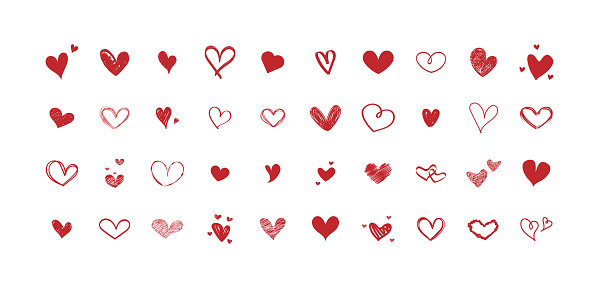 Vector set of different red hearts. Collection of hand-drawn hearts. Design on white background.