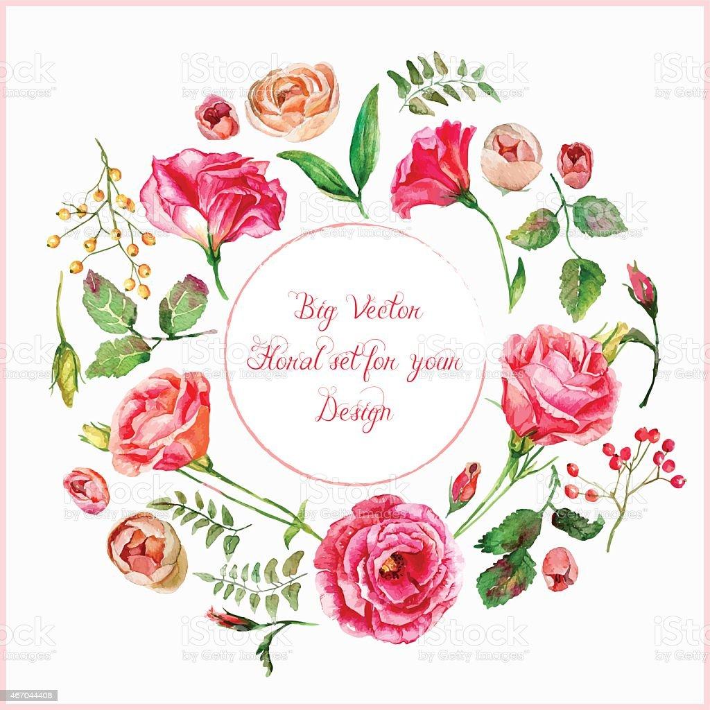 Vector set of different red, pink flowers for design. vector art illustration