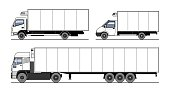 Vector set of different refrigerated trucks, side semi-trailer, side view. White blank truck template for advertising. Freight transportation, delivery of goods. Isolated on white background