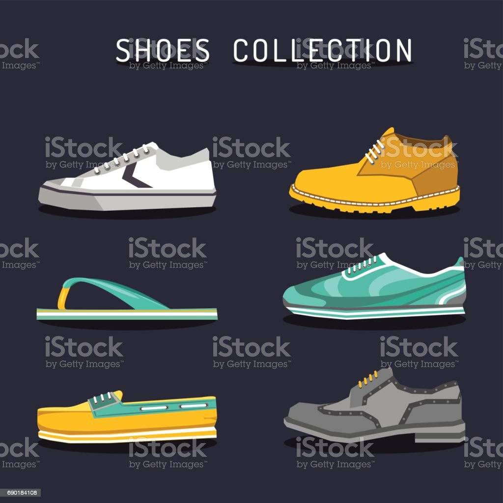 Vector set of different shoes icons in flat style. Footwear icons collection. Illustrations of boot, ked, sneacker etc. vector art illustration