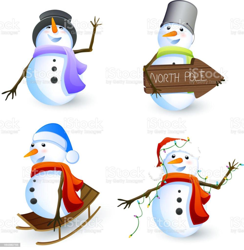 Vector Set of different Snowmen royalty-free stock vector art