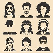 Vector set of different subcultures man and woman app icons in flat style. Goth, raper etc. web images.