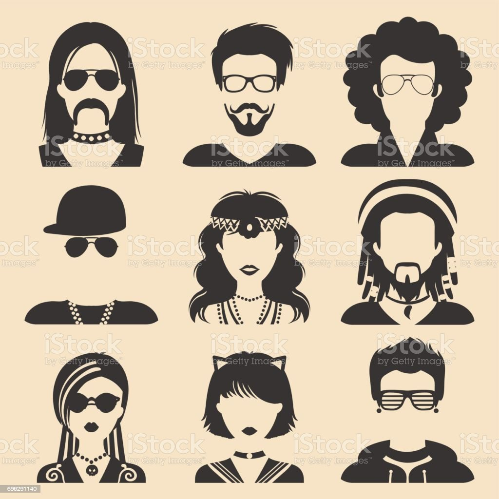 Vector set of different subcultures man and woman app icons in flat style. Goth, raper etc. web images. vector art illustration
